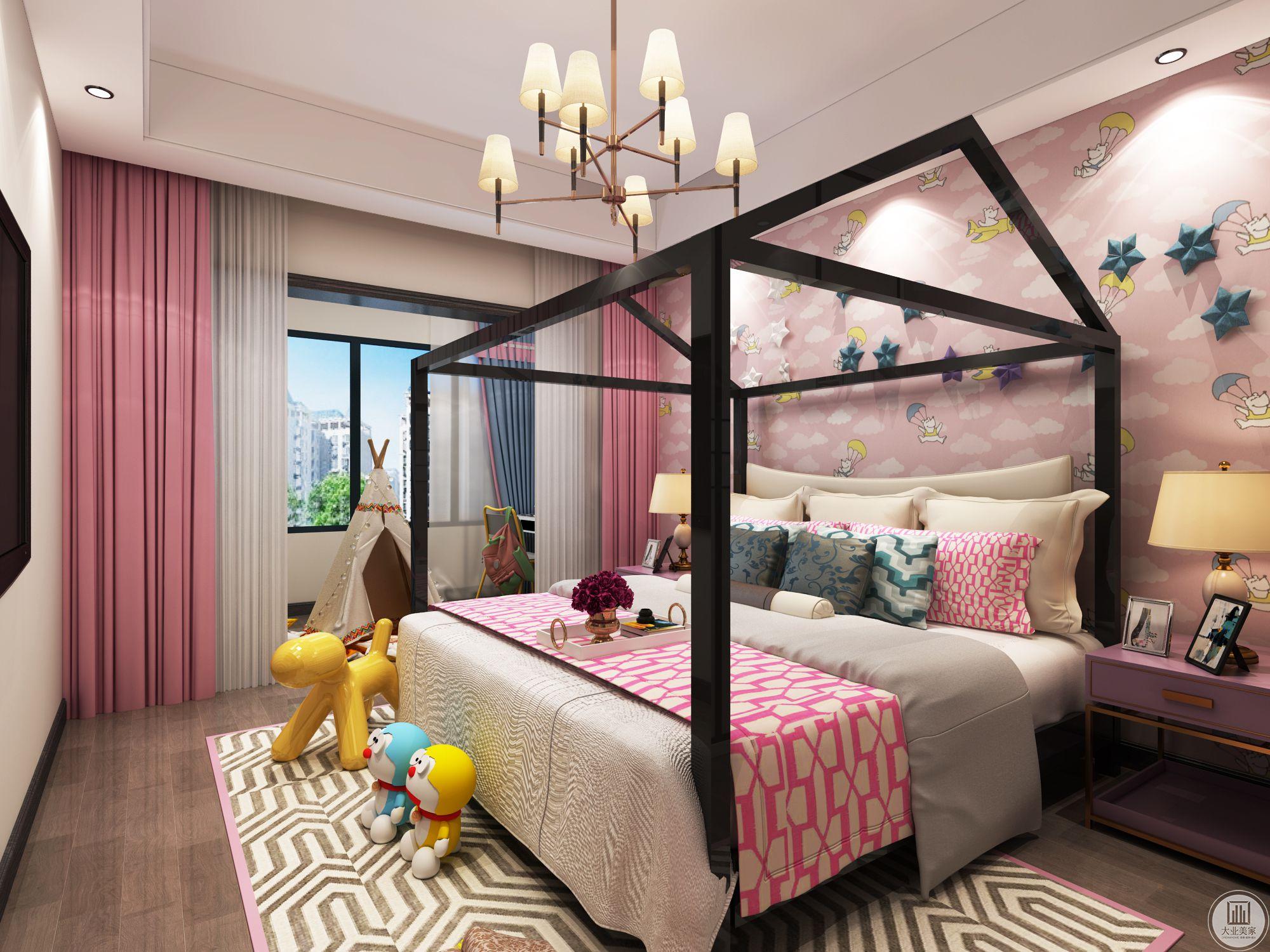 南面次卧连接阳台为小孩房间具备小孩学习玩耍空间。每个空间得到了延伸合理的利用。