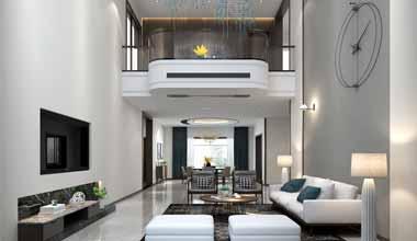 昆山棕榈湾500平别墅四室两厅现代简约装修效果图