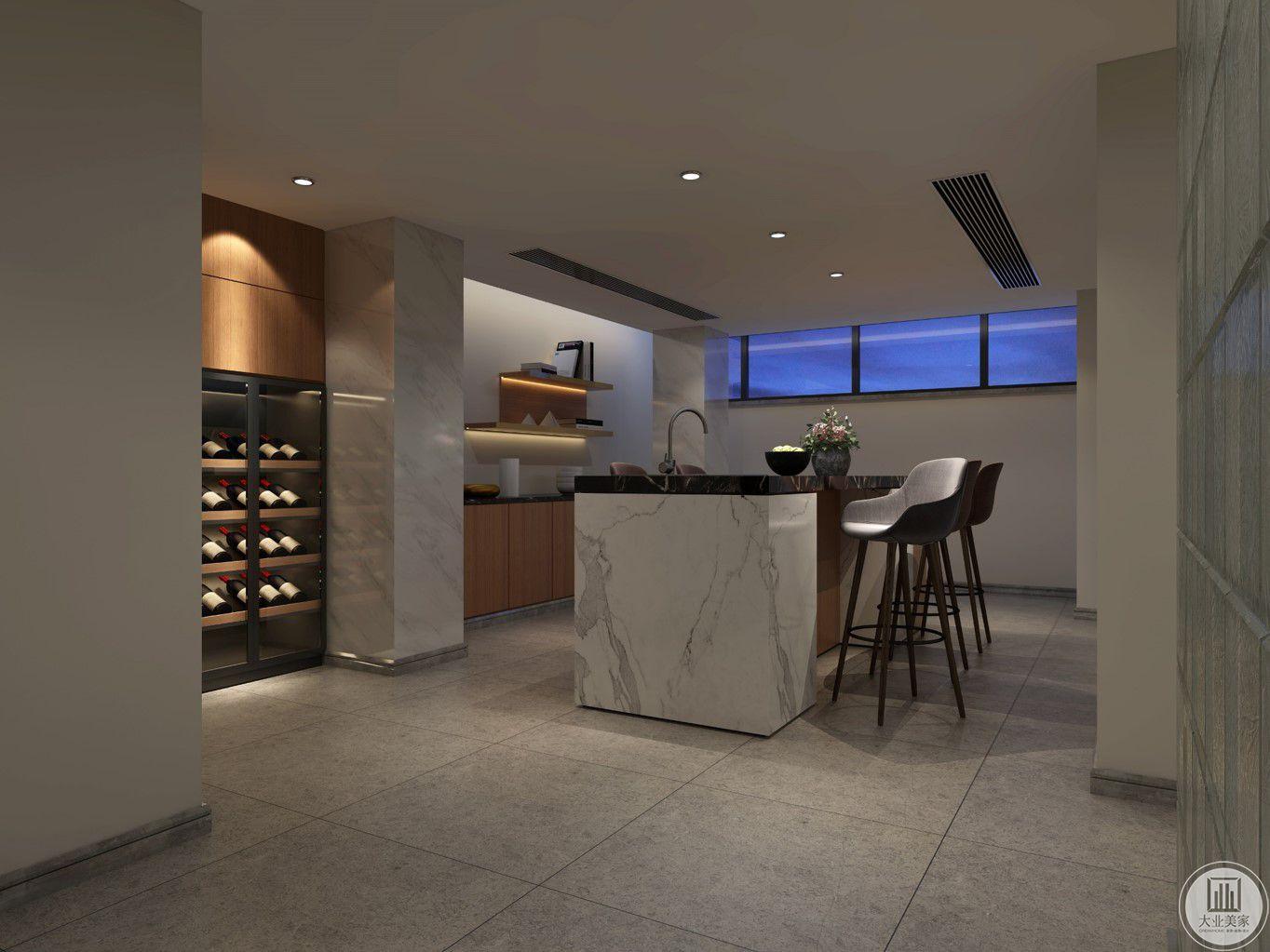 酒窖最理想的位置是地下室,由于白炽灯会产生热能,荧光灯产生大量不可见紫外线,紫外线严重破坏葡萄酒酒体结构,所以选取最好的冷光源照明系统。