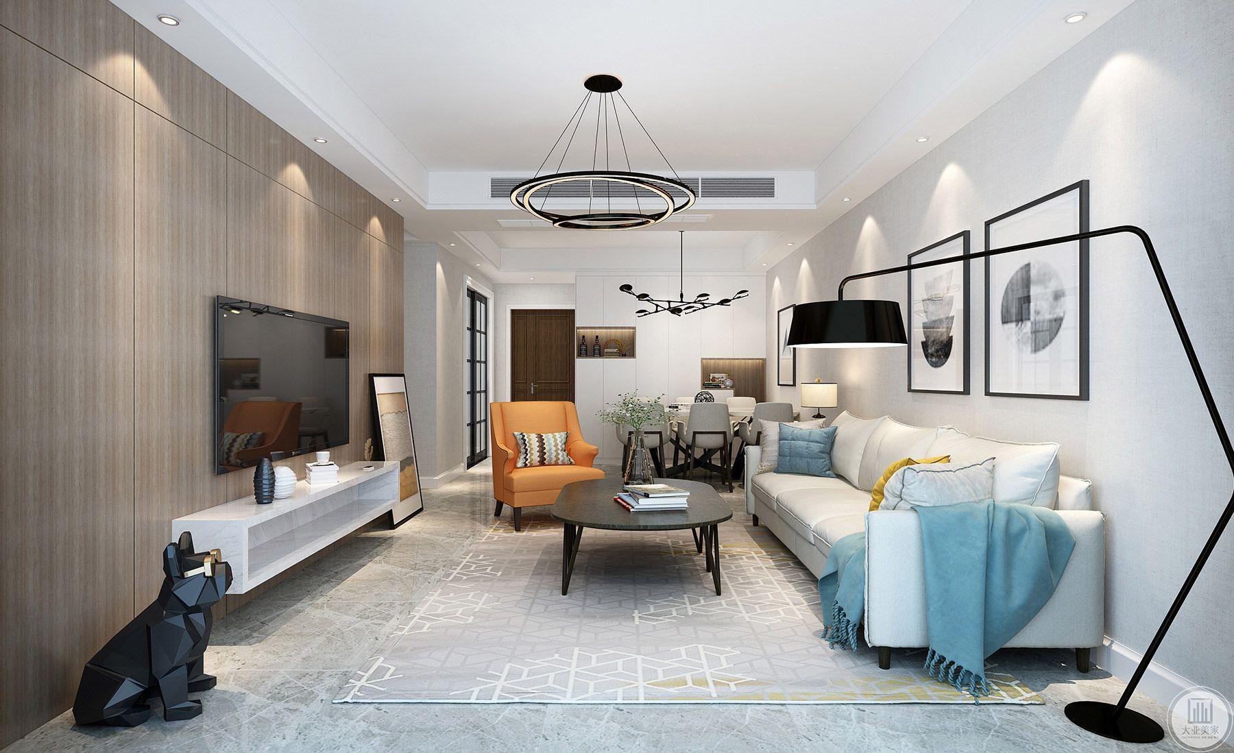 白色主沙发搭配橙色的单人沙发,质朴又现代大方。