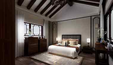昆山天伦随园300平别墅四室两厅新中式装修效果图
