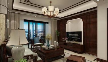 昆山金鹰180平大平层三室两厅新中式装修效果图