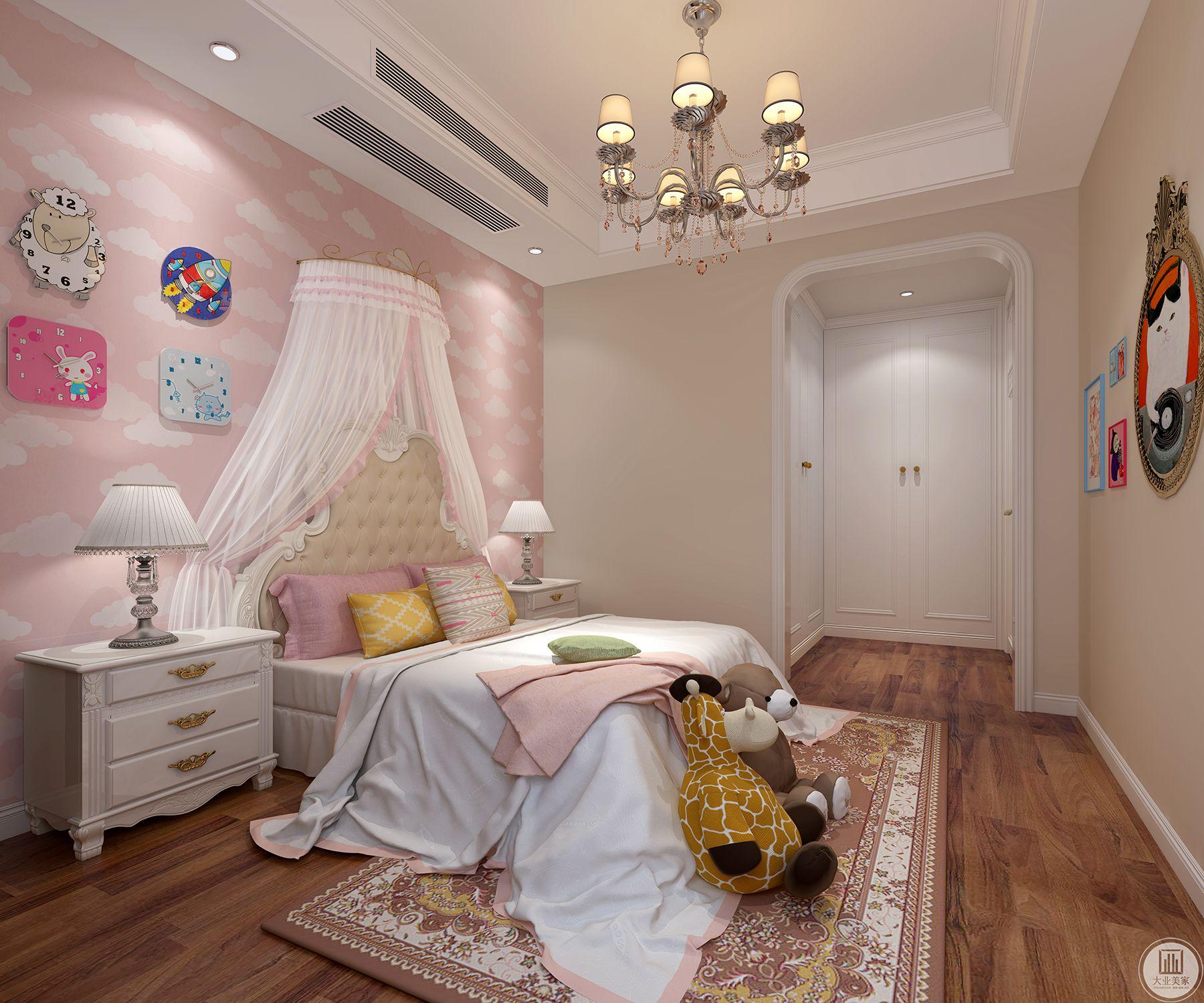 本案主要风格小美式,小孩房以温馨童趣为主。