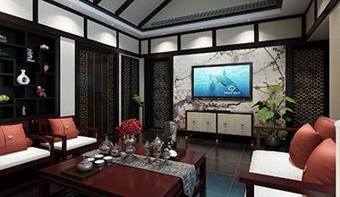 昆山苏园188平别墅三室两厅新中式装修效果图