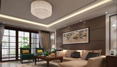 昆山白鹭湾300平别墅五室两厅新中式装修效果图