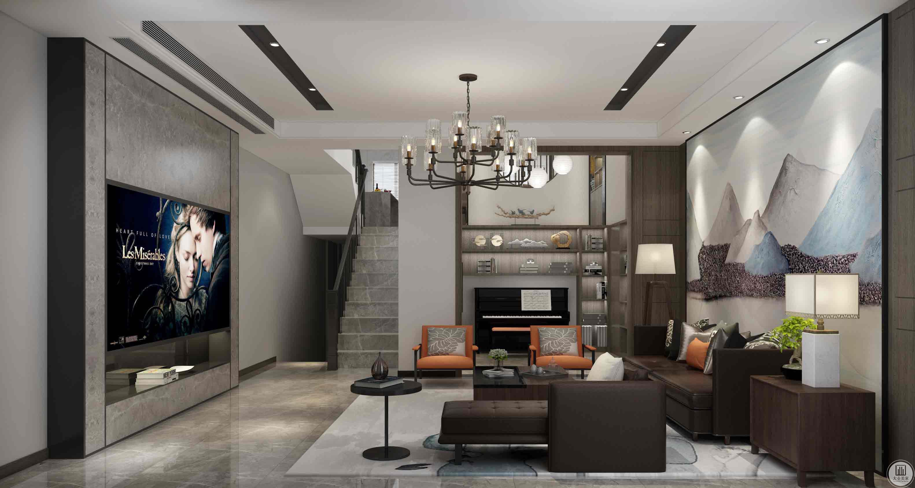 客厅:主要以白色、深灰色为主。简单的艺术吊顶采用凹缝、黑色的灯槽作为层次对比。简单的电视机背景墙采用咖啡色的大理石,黑钛钢卡条作为线条。镶嵌式电视机,中空的电视机柜。