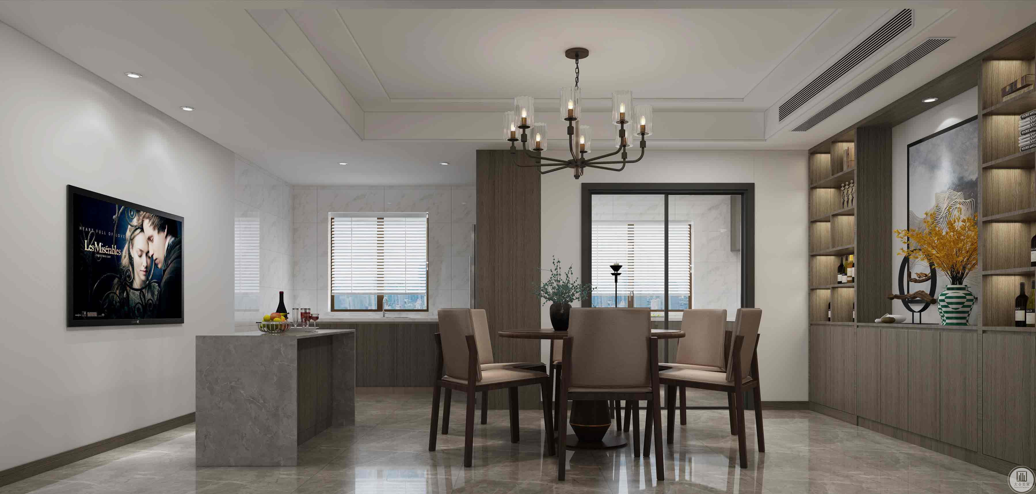 餐厅:以中西厨为主。封闭式的厨房,把冰箱高柜放在外面使厨房比较宽敞舒适。