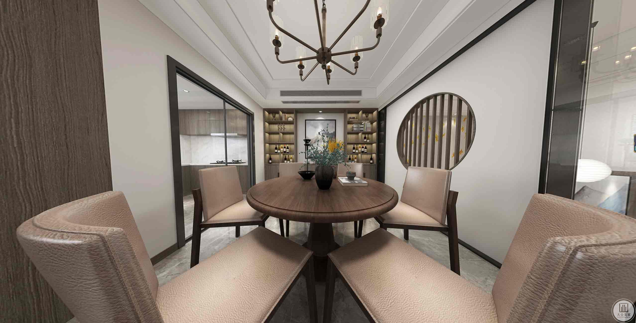 餐厅区域放了一个圆桌、岛台靠窗户做了一个操作台使空间最大利用化。灰色的木饰面使空间更加和谐。