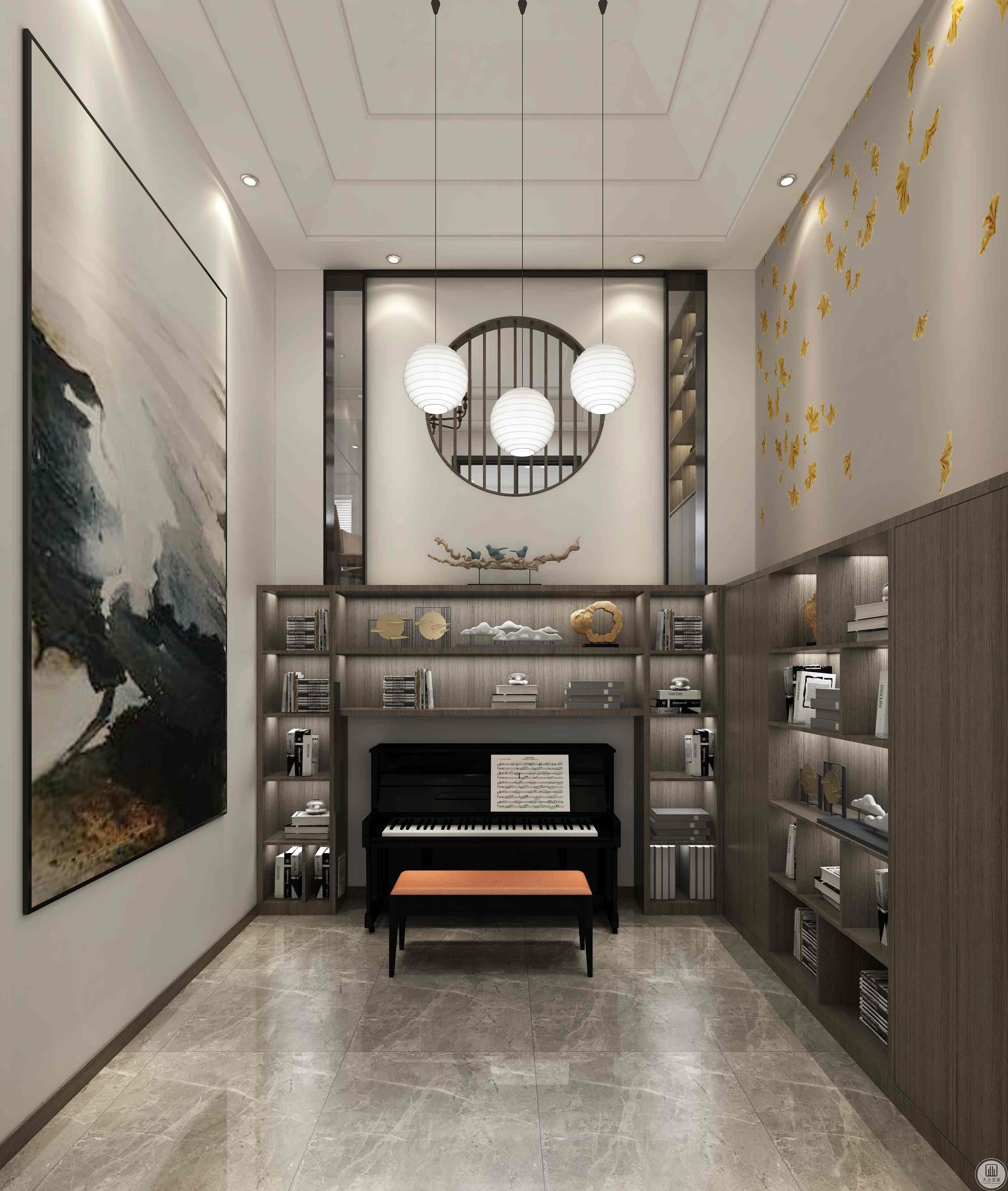 挑空的钢琴区特点:楼梯旁边的窗户放了一幅大画隔开上楼的声音、开到楼梯的弊端,钢琴上方做了一个中式的隔断,以矩形、圆形,使空间自然简洁,和谐宽敞的感觉,温馨的家。