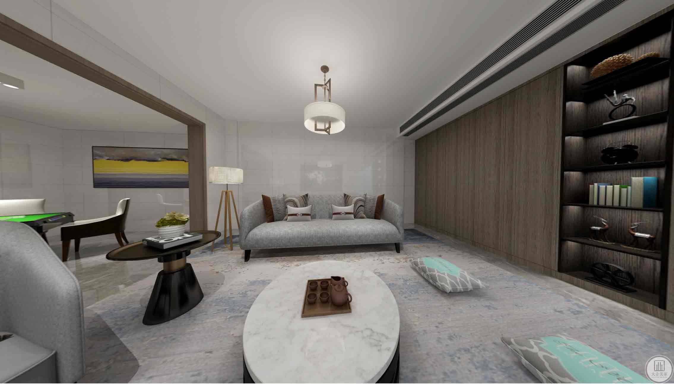 地下室:主要以白色为主,深灰色的木作作为点缀。简单的艺术吊顶,米灰色的沙发显得空间大气明亮。