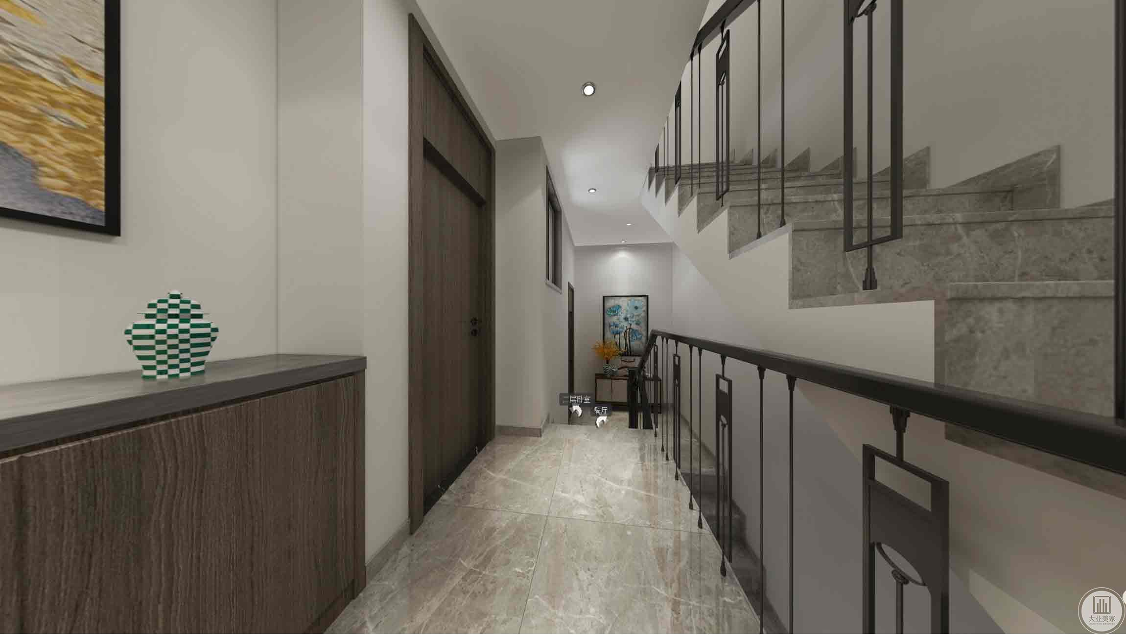 二楼走廊:主要以白色、深灰色为主。铁艺的栏杆,墙上挂这艺术增添色彩。