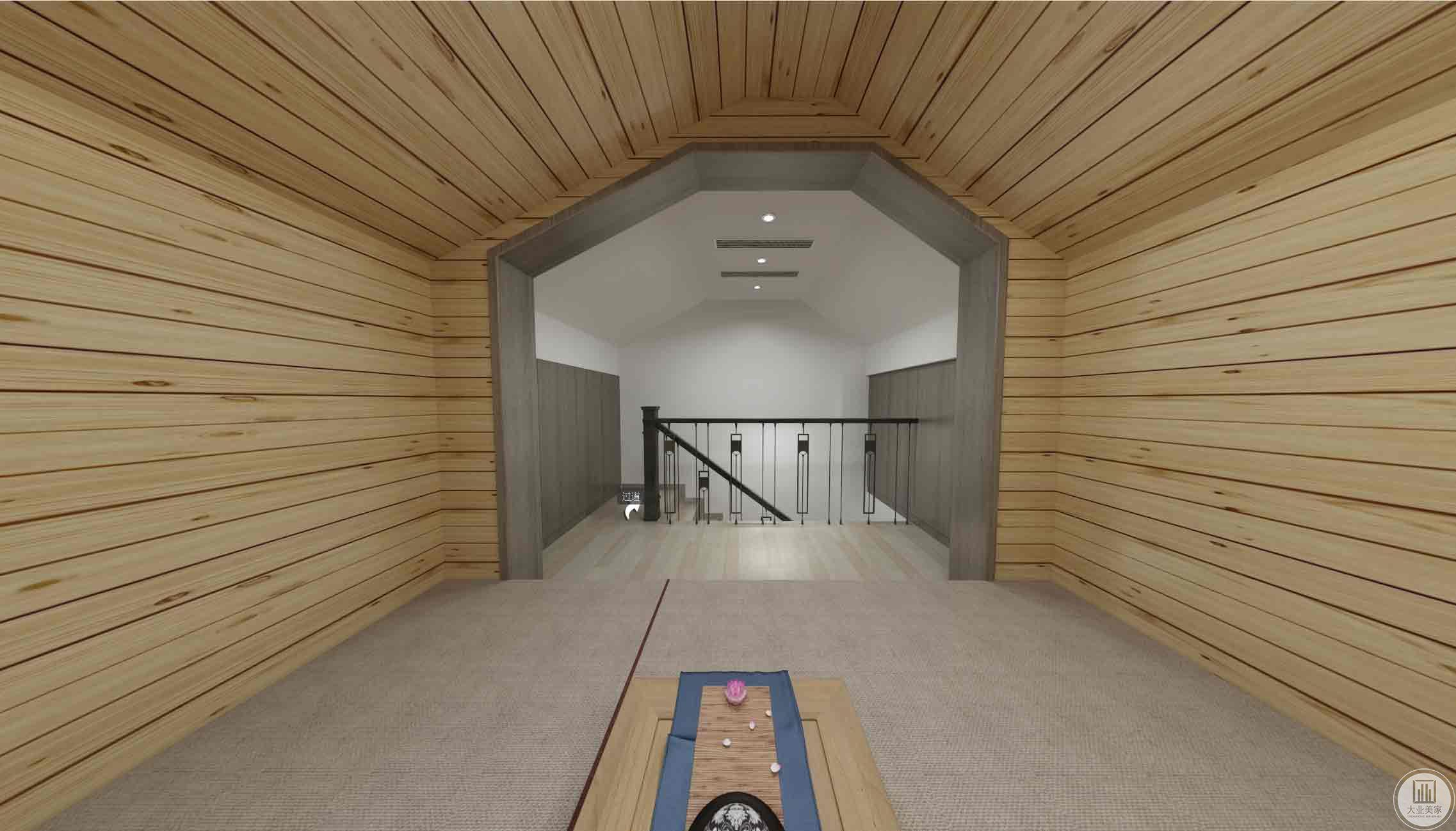 阁楼榻榻米房:榻榻米吊顶与墙面连在一起原木色墙顶面,楼梯上来连边的小空间作为储物柜。