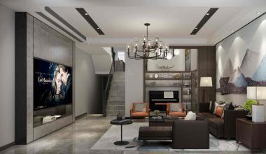 昆山阳澄溢景苑475平四室两厅现代装修效果图