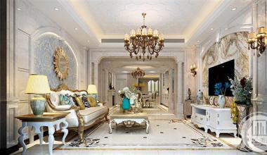 昆山中大未来城250平五室两厅欧式古典装修效果图