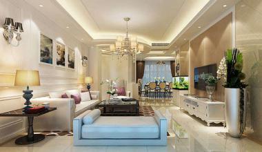 昆山乾耀东筑200平三室两厅简欧风格装修效果图