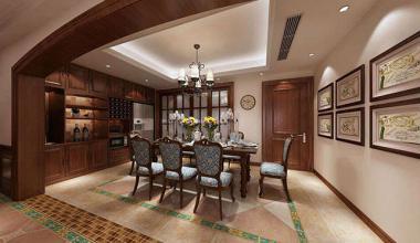 昆山滨江皇冠200平三室两厅美式风格装修效果图