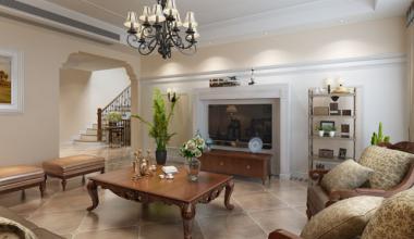 昆山白鹭湾240平别墅四室两厅美式风格装修效果图