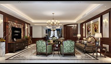 昆山天成佳园300平别墅五室两厅美式装修效果图