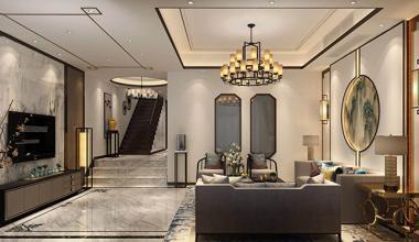 昆山品院260平别墅四室两厅新中式装修效果图