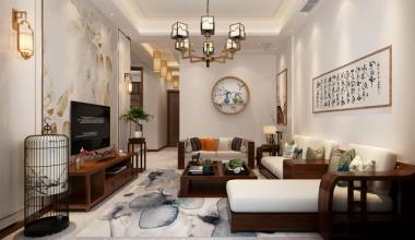 昆山苏园200平别墅三室两厅新中式装修效果图