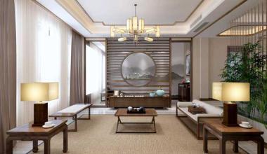 太仓绿地400平别墅四室两厅新中式装修效果图