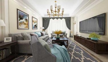 昆山江南理想119平三室两厅美式装修效果图